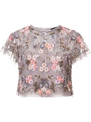 Needle And Thread Floral Embellishment Cropped Blouse Pink Purple