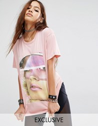 Criminal Damage X Manta Oversized Boyfriend T Shirt With Face Graphic Pink
