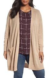 Sejour Plus Size Women's Duster Cardigan Tan Sesame