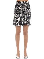 N 21 Animalier Printed Crepe Mini Skirt Black