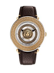 Versace V Meta Medusa Two Tone Stainless Steel Leather Strap Watch Silver