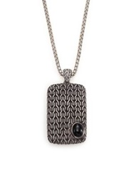 John Hardy Batu Classic Chain Sterling Silver And Black Chalcedony Dog Tag Necklace