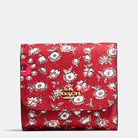 Coach Small Wallet In Wild Hearts Print Canvas Light Gold Wild Hearts Red Multi