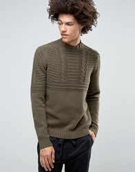 Asos Lambswool Rich Cable Jumper With High Neck In Oatmeal Khaki Green