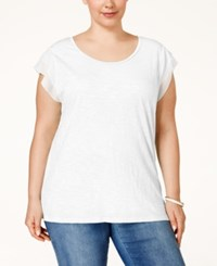 Styleandco. Style And Co. Plus Size Woven Sleeve Top Only At Macy's Bright White