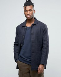 Selected Wool Check Trench Coat Navy