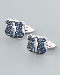 Stephen Webster Pave Sapphire Shield Cuff Links Men's