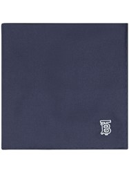 Burberry Monogram Motif Silk Pocket Square Blue