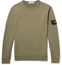 Stone Island Loopback Cotton Jersey Sweatshirt Army Green