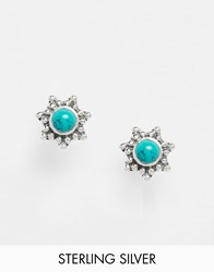 Reclaimed Vintage Sterling Silver Gem Stone Star Stud Earrings Silver