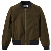 Tomorrowland Melton Bomber Jacket Green