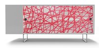 Spot On Square Alto Credenza Red Strands White Brown Green