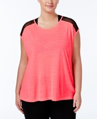 Material Girl Active Plus Size Mesh Trim Top Only At Macy's Flashmode