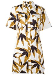 Marni Leaf Print Shirt Dress White