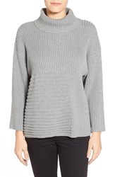 Petite Women's Vince Camuto Ribbed Turtleneck Sweater Steel Heather