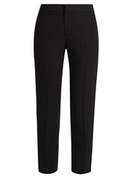Chloe Slim Leg Cady Cropped Trousers Black