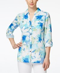 Jm Collection Petite Floral Print Button Down Shirt Only At Macy's Falling Petal