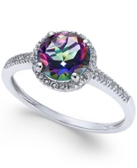 Macy's Mystic Topaz 1 1 2 Ct. T.W. And Diamond 1 8 Ct. T.W. Ring In 14K White Gold Multi