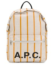 A.P.C. Striped Backpack Neutrals