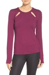 Alo Yoga Women's Mantra Keyhole Top Juneberry