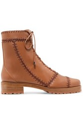 Alexandre Birman Whipstitched Leather Ankle Boots Tan