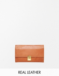 Asos Leather Purse Travel Wallet With Clasp Tan
