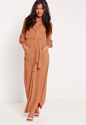 Missguided Wrap Around Maxi Shirt Dress Tan Red