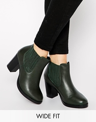 Asos Each And Every Day Wide Fit Leather Ankle Boots Green