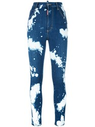 Dsquared2 Glamhead Bleached Splatter Jeans Blue