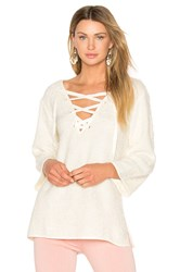 Line And Dot Larch Lace Up Top Cream