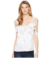 Ellen Tracy Flouncy Sleeve Double Layered Top Shadow Bloom White Clothing