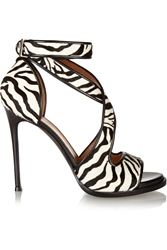 Givenchy Nilenia Sandals In Zebra Print Calf Hair With Leather Trim