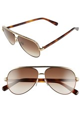 Women's Jimmy Choo 'Linas' 59Mm Aviator Sunglasses Rose Gold