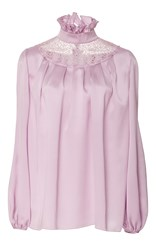 Giambattista Valli Long Sleeve Ruffle Collar Top Purple