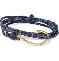 Miansai Cord And Gold Tone Anchor Bracelet Blue