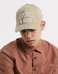 Mitchell And Ness Head Coach Arch Logo Snapback Cap In Khaki Beige