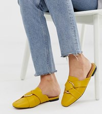River Island Mule Loafers With Circle Detail In Yellow