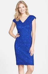 Women's Tadashi Shoji Corded Lace Tulle Sheath Dress Mystic Blue