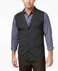 Tasso Elba Men's Shawl Collar Vest Only At Macy's Charcoal Heather