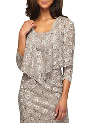 Alex Evenings Sequined Lace Jacket Stone