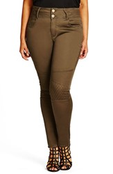 City Chic Plus Size Women's Khaki Moto Skinny Jeans