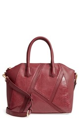 Sole Society Chase Faux Leather Satchel Red Bordeaux