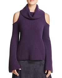 Elie Tahari Torrence Cold Shoulder Cashmere Sweater Aubergine