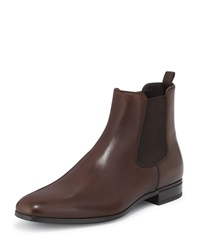 Prada Leather Chelsea Rubber Bottom Boot Brown
