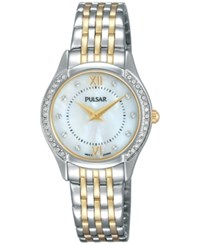 Pulsar Women's Jewelry Two Tone Stainless Steel Bracelet Watch 28Mm Pm2233 Two Tone