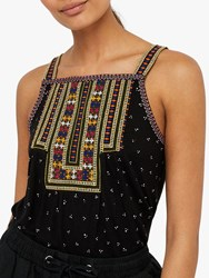 Monsoon Malakai Abstract Embroidered Jersey Cami Black