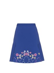 Peter Pilotto Geometric Embroidered Fluted Cady Mini Skirt Blue Multi