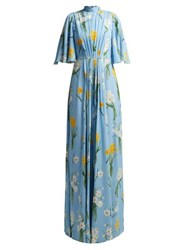 Andrew Gn Narcissus Print Silk Crepe Dress Blue Multi