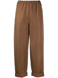 Rochas Cropped Straight Leg Trousers Brown