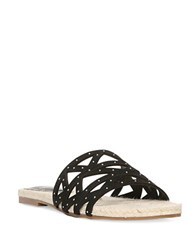 Fergie Suede Open Toe Flat Sandals Black